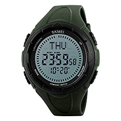 SKMEI Men Compass Watch Outdoor Digital Sports Climbing 5ATM Waterproof World Time Military Watch (Army green)