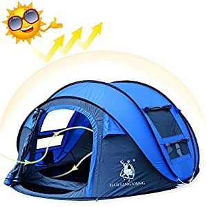 Camping Tents Pop up for 3-4 Persons, AYAMAYA-AU Automatic Instant Dome Tent Family Shelter Fast Pitch and Fold Waterproof & UV Protection Outdoor Gear for Travel Backpacking Picnic with Storage Bag