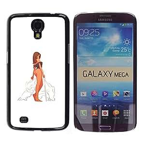 Caucho caso de Shell duro de la cubierta de accesorios de protección BY RAYDREAMMM - Samsung Galaxy Mega 6.3 - Guerrero Mujer atractiva