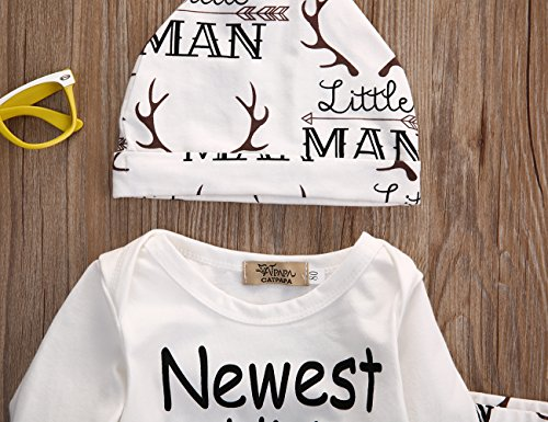 Baby Boy Girl Suit For Baby Shower Deer Print Long Sleeve Romper+Long Pants+Hat (0-3months, White)