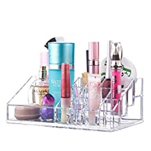 Sooyee Acrylic 12 Lattices and 4 Sections Medium size Makeup and Lipstick Organizer, Cosmetic Brush Holder, Arranges Makeup and Accessories,9 x 5 x 3.2 inch