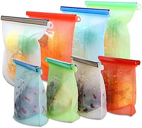 再利用可能なシリコーン食品保存袋 - 気密シール食品保存容器野菜の液体スナック肉のフルーツのために、4×大4000ml + 4×小1000ml