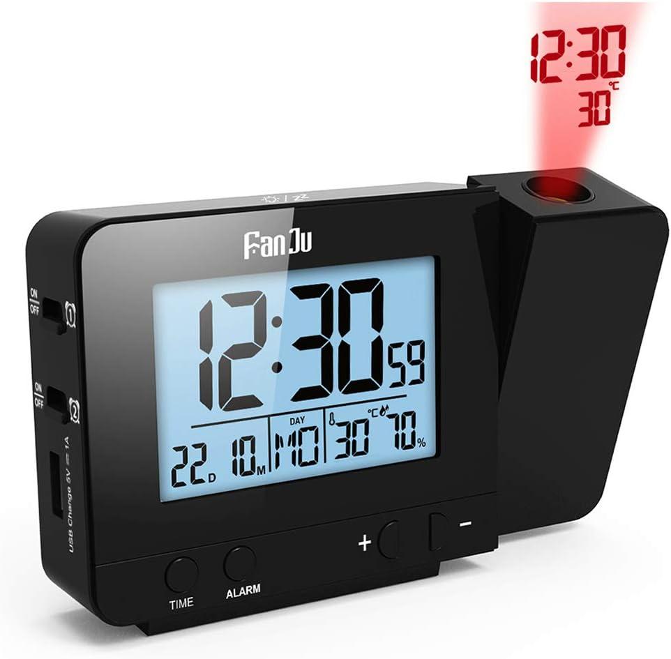 dimmer da Comodino Orologio Sveglia con Funzione di Orologio con Funzione di Snooze Orologio di umidit/à USB Alimentato a Batteria Dimmer S Konesky Orologio Digitale a proiezione