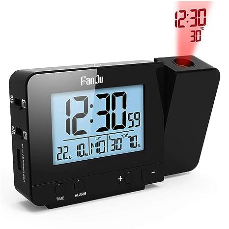 Despertador Proyector, Despertador Reloj Digital de Proyección Proyección de temperatura y tiempo/Puerto del