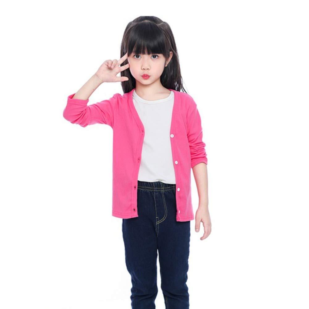 Miyanuby Cardigan B/éb/é Fille Gar/çon Couleur Unie Classique Col Rond Manches Longues Pulls et Gilets pour Enfants 1-10 Ans