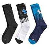 Under Armour Boy`s UA Phenom Crew Socks 3 Pack (Youth Small (Youth Shoe Size 13.5K - 4Y), Turquoise (1299805-567) / White/Black)