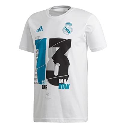 adidas Camiseta Real Madrid 13 Campeón UCL 18 White Talla 2XL