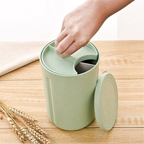Gooday 3 Grids Food Grade PP Food Storage Jar Box Cereals Beans Nuts Holder Snack Organizer Container Natural Wheat Straw Homeware (Beige)