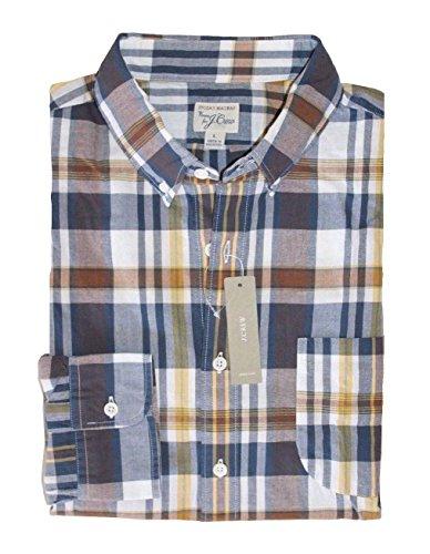 J. Crew - Men's - Slim Fit - Navy/Brown/Yellow Plaid Madras Shirt (Medium)