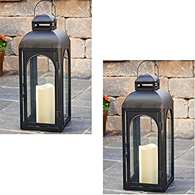 "Smart Solar HY1011M 17"" Black LED Solar Patio Lantern - Quantity 2"