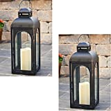 Smart Solar 84045-LC 17'' Matte Black Moreno LED Candle Lantern