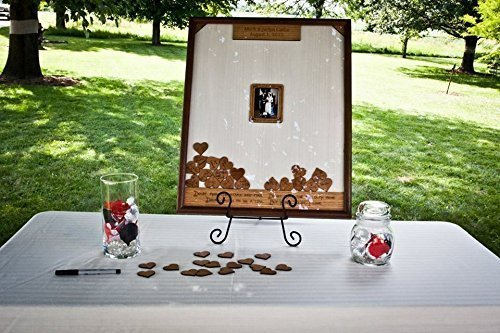 18x24 Rustic Wood 3D Drop Heart Box Picture Frame Wedding Guest Book Alternative 220 Guests