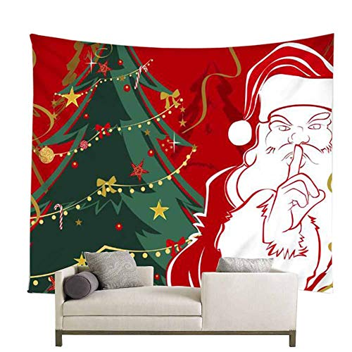 POPPAP Christmas Wall Decor Tapestry, Digital Print Santa Claus with Christmas Hat Green Christmas Tree Christmas Party Scene Setters Wall Decoration Background(71