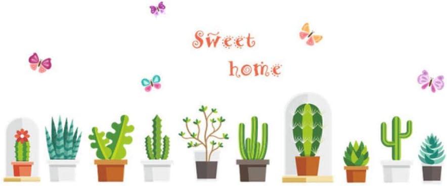 Efecto 3D Jardín Cactus Plantas Pegatinas De Pared Cuarto De Niños Ventana Armario Decoración De Cocina Flor Niños Tatuajes De Pared Arte