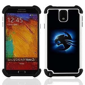 For Samsung Galaxy Note3 N9000 N9008V N9009 - Blue Cougar Dual Layer caso de Shell HUELGA Impacto pata de cabra con im??genes gr??ficas Steam - Funny Shop -