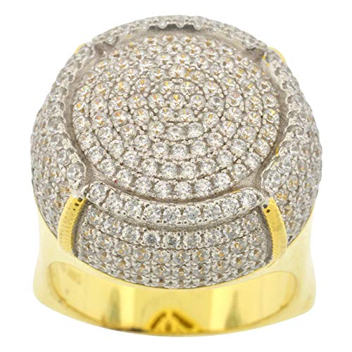 Men's Two Tone Gold-and-Rhodium-Plated Sterling Silver Round Cut Cubic Zirconia European Shank Dome Ring, Size 10
