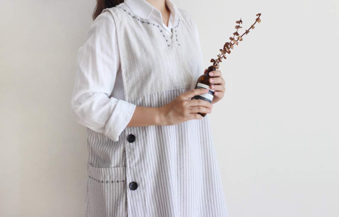 新刺繍綿 100% 可愛い 手作り エプロン 日本風 サイズ ボタン APRON-ベージュ   B07K67C1BX