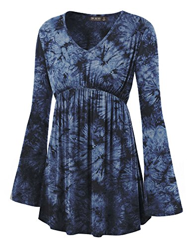 LL WT1160 Womens Tie-Dye Long sleeve Empire Waist Line Tunic Top XXXL NAVY