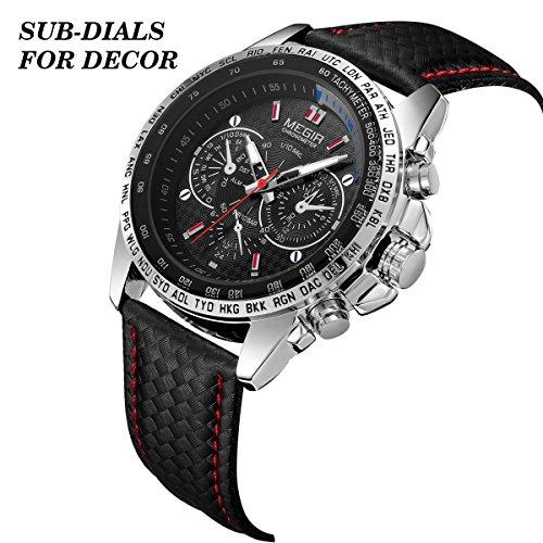 MEGIR Mens Military Wrist Analog Sport Watch Fashion Casual Leather Waterproof Quartz Wrist Watch