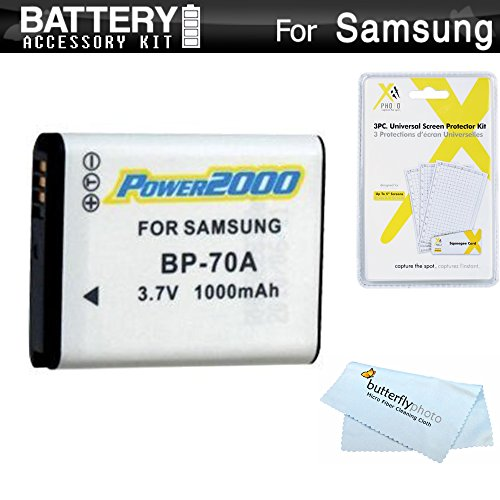 Battery Kit for Samsung WB50F, WB35F, WB30F, ST150F, DV150F, ST76, EC-PL120, MV800 MultiView Digital Camera Includes Extended Replacement (1000Mah) BP-70A Battery + Screen Protectors + Cleaning Cloth
