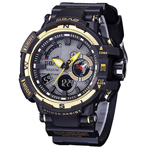 b874882db064 SBAO Electronic Men Watches Outdoor Sport WristWatches Clock Waterproof  Multicolor Water Resistant Function Alarm Auto Date