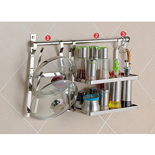 Rod Iron Bakers Rack - LXLA- 304 Stainless Steel Kitchen Shelf Wall-mounted Seasoning Supplies On The Wall Pendant Tableware Chopping Board Pot Lid Storage Rack (Color : Style 2)