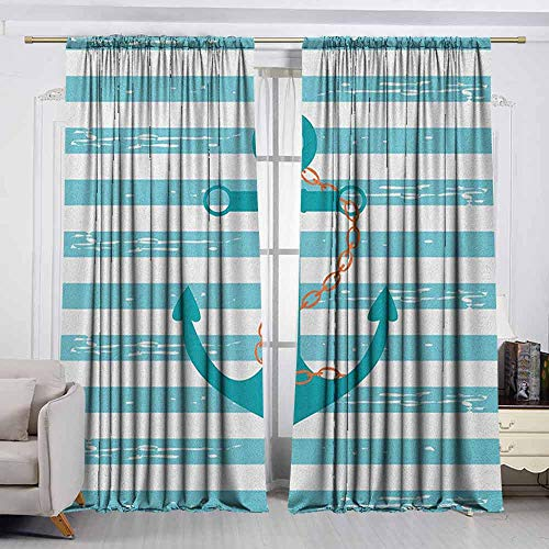 VIVIDX Doorway Curtain,Teal,Ship Anchor Chain Marine Life Inspired with Lined Background Ocean Sailing,Room Darkening, Noise Reducing,W72x45L Inches Teal Turquoise White