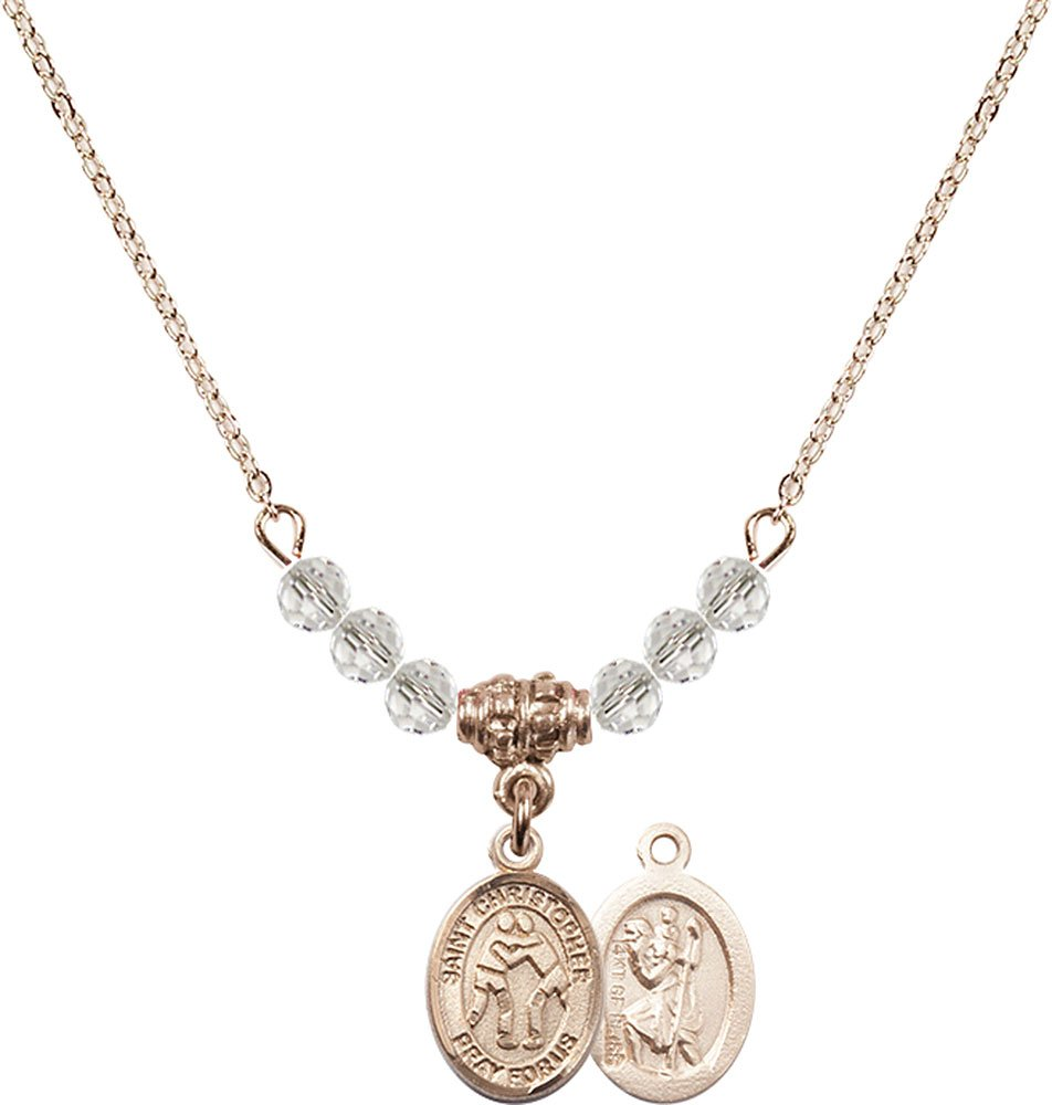 18-Inch Hamilton Gold Plated Necklace with 4mm Crystal Birthstone Beads and Gold Filled Saint Christopher/Wrestling Charm. by F A Dumont
