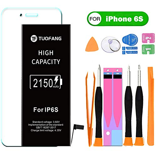 2150mAh Battery Compatible for iPhone 6S, TuoFang High Capacity Lithium-ion Replacement Battery 0 Cycle,Professional Full Set Tool Kits and Screen Protector