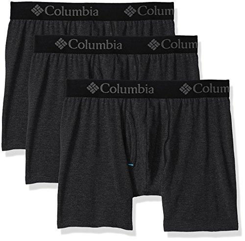 Columbia Boxers - Columbia Men's Performance CTTN Stretch 3 PK Solid Boxer Brief, Black, L