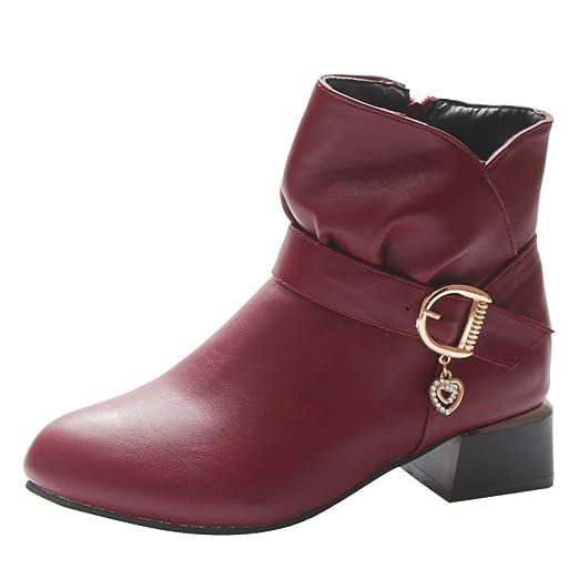 76423b7448075 Amazon.com: Hunzed Women Shoes Leather high Heel Round Head Square ...