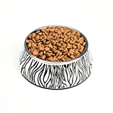 Homeself-Removable-Zebra-Melamine-Plastic-Stainless-Steel-Non-Skid-Dog-Puppy-Cat-Pet-Bowl-Pet-Feeding-Watering-Easy-to-Clean-Dishwasher-Safe-for-Dogs-and-Cats