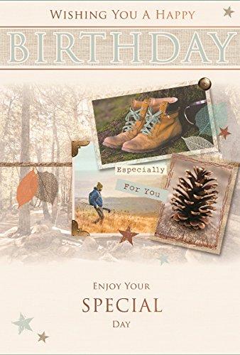 Greetings Open Male Birthday Card - Man Hiking, Woodland Scene & Pine Cone 7.75