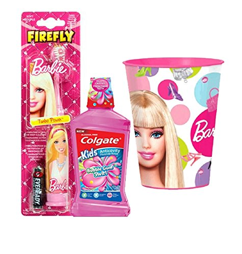 Barbie Girl Inspired Pretty in Pink 3pc Bright Smile Oral Hygiene Set! (1) Barbie Turbo Power Soft Spin Toothbrush (1) Colgate Kids Mouthwash Bubble Gum Swirl Plus Bonus Matching Mouth Wash Rinse Cup!