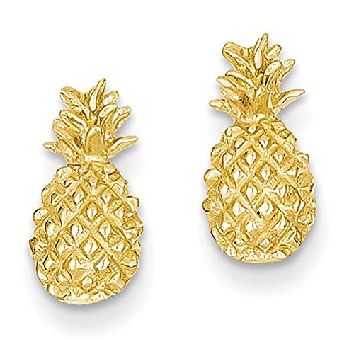 Lex & Lu 14k Yellow Gold Polished & Textured Pineapple Post - Polished Pineapple