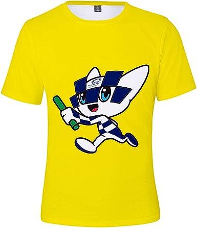 Camiseta De Los Juegos Olímpicos De Tokio Camiseta De Algodón De Manga Corta Cuello Redondo Camiseta Deportiva De Secado Rápido Top Verano, Amarillo, S: Amazon.es: Ropa y accesorios