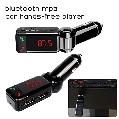 (Fm Transmitter, in-car Bluetooth Receiver, fm Radio Stereo Adapter, bluetooth car charger with Handsfree Calling and USB Charging Port Up to 2A High Performance Digital Wireless Bluetooth)