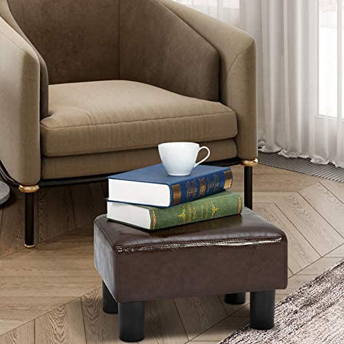 ECOTOUGE Small Foot Stool Ottoman PU Leather Foot Rest