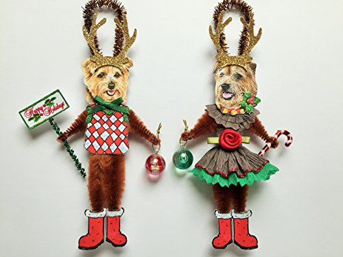 Vintage Chenille - Norfolk Terrier REINDEER Christmas ornaments holiday DOG ornaments vintage style chenille ORNAMENTS set of 2