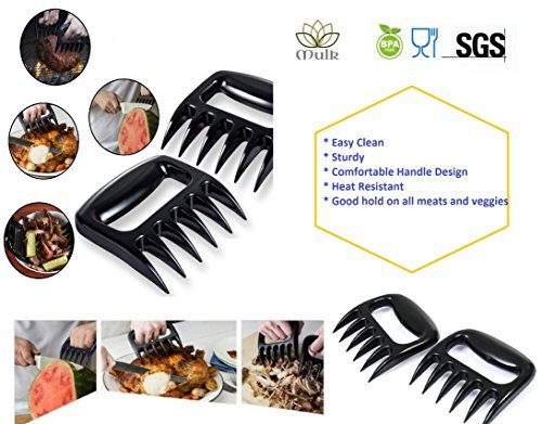 Mulk Set of 2 BBQ Meat Shredder Claws SUPERIOR Heavy duty and heat resistant handles - Suitable for ALL MEATS from Grill Smoker or Slow Cooker - BPA free, dishwasher safe, food grade and easy clean