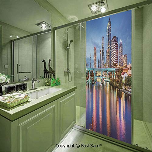 PUTIEN Door Glass Sticker Hillsborough River Tampa Florida USA Downtown Idyllic Evening at Business District for Bedroom Glass Privacy(W11.8xL35.4)