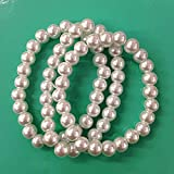 3PC vintage inspried white faux pearl bracelets for bridesmaid ,breakfast at tiffany party favor , wedding, bridal party /8mm