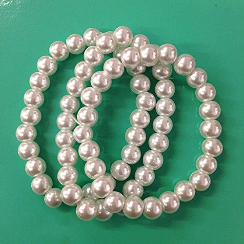 3PC vintage inspried white faux pearl bracelets for bridesmaid ,breakfast at tiffany party favor , wedding, bridal party /8mm ()