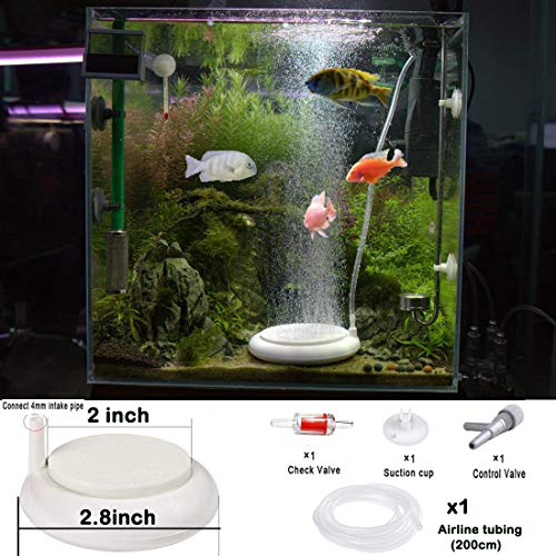 Aquarium Air Stone Disk Kit, Fish Tank Bubbler High Effect Nano Round Disc Air Diffuser for Fish Bowl Oxygenation in Both Freshwater and Saltwater Tanks Hydroponic (2inch fits for 1-22 Gallon)