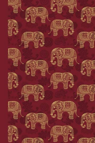 Sketchbook: Elephant Pattern (Red) 6x9 - BLANK JOURNAL WITH NO LINES - Journal notebook with unlined pages for drawing and writing on blank paper (Patterns & Designs Sketchbook Series)