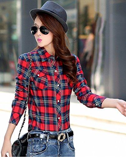 ezShe - Camisas - para mujer Red Blue