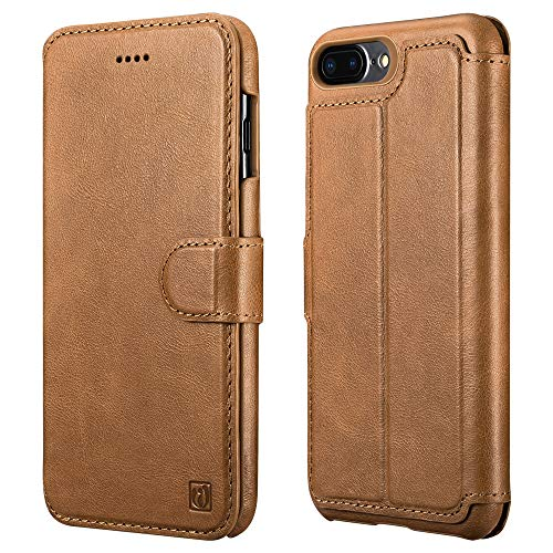 Leather Genuine Folio - iPhone 7 Plus Case ICARER Detachable Genuine Leather Wallet iPhone 8 Plus Case [Detachable Folio] Flip Folio Book Cover with Card&Cash Slot and Magnetic Closure for iPhone 7/8 Plus 5.5 inch-Brown