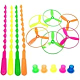 Threesome Bamboo Dragonfly Plastic Flying Saucers Pull String Spinning Wheel Toy for Kids (Multicolour, Pack 10 Pcs)