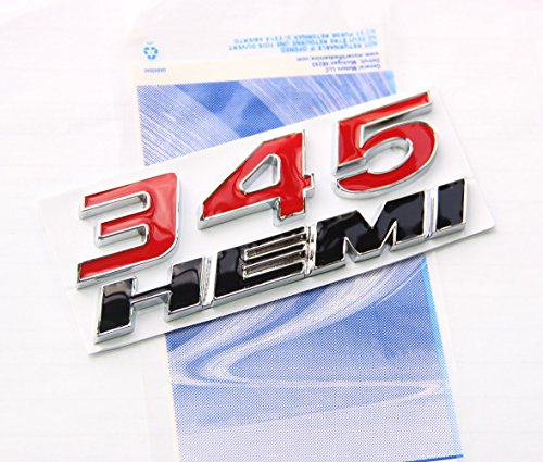All Red Yoaoo New Red OEM 345 HEMI 345HEMI Emblem Badge Alloy Decal 3d Logo for Challenger Chrysle 300c