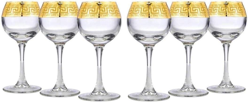 Gold Rimmed Crystal 3 Oz Liquor Glasses, Sherry Goblets 6-pc, Greek Key (Medusa)